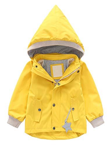 Echinodon Kinder Outdoorjacke Winddicht Wasserabweisend Jacke mit Reflektoren Mädchen Jungen Regenjacke Übergangsjacke Wanderjacke Gelb 130