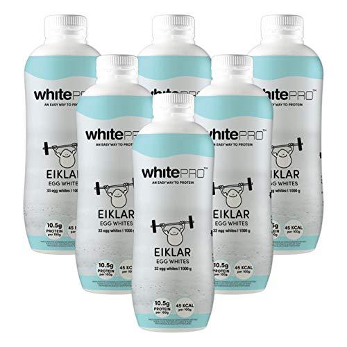 whitePRO™ Flüssiges Eiklar 6x 1kg Flaschen – 105 g reines Eiweiß pro Flasche