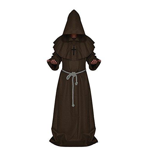 Comficent Halloween Disfraz de Monje Adulto Sacerdote Túnica Medieval Capucha Encapuchado de Renacimiento para Adultos (XL, Café)