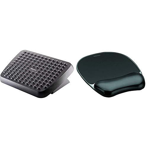 Fellowes Reposapiés ergonómico ajustable para oficina, color negro + Gel Crystals - Alfombrilla de ratón con reposamuñecas ergonómico, color negro