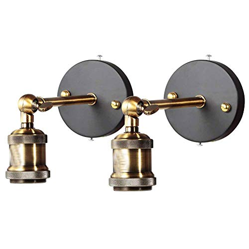 Lampade da parete, E27 Vintage Applique da parete Interno Regolabile Testa in rame Retro Wall Light per casa, Bar, ristoranti,Club (lampadina non inclusa) (2-pack)