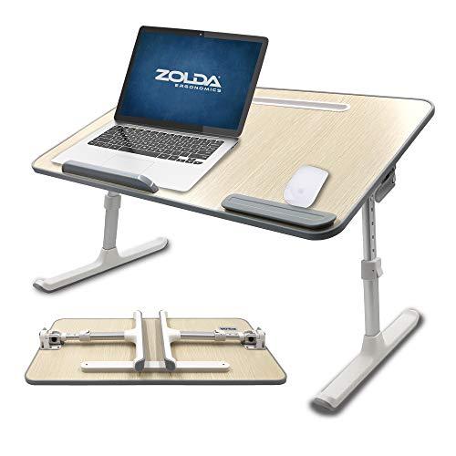 ZOLDA Portátil Escritorio de Cama - Premium Mesa para Portátil. Mesa Plegable Multifunción. Soporte para Portátil para Cama, Sofá, Suelo O como Mesa Alta Portable (Roble Y Aluminio)