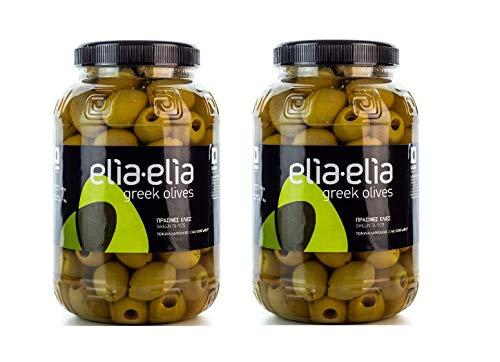 2x 1kg entkernte grüne griechische Chalkidiki Oliven sehr groß super Mammut Mammouth eingelegt in Lake kernlos + 10ml Olivenöl zum Test im Set - Chalkidiki Griechenland