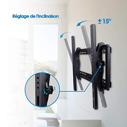 SIMBR Support Mural TV Inclinable ±15° VESA Max 600×400 pour l'écran LED, LCD, Plasma et Incurvé de 26''-75 '' Capacité Max 60kg