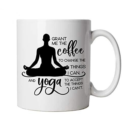 Grant Me Coffee and Yoga Mug   Yoga Yogi Sutra Mantra Stress Relief Relax Pose   Savasana...