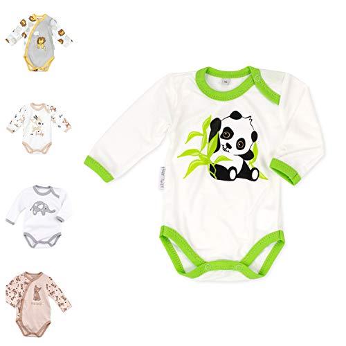 Baby Sweets Baby Langarm-Body für Jungen & Mädchen aus Bio-Baumwolle als Erstausstattung/Baby-Body im Panda-Motiv in Grün Beige für Neugeborene & Kleinkinder/Babykleidung der Größe: 3 Monate (62)