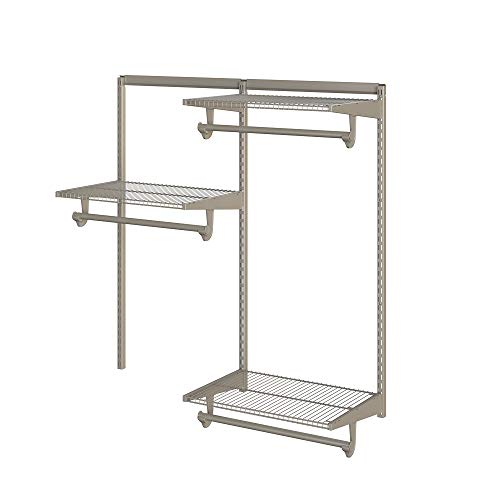 Closet Culture by Knape & Vogt Culture 4 Ft. Steel Closet Organization System with, 3 Champagne Nickel Wire Shelves