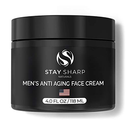 Anti Aging Face Cream for Men - 4oz Facial Moisturizer - Manufactured in the USA - Younger Looking Wrinkle Free Skin - Moisturizing Mens Face Lotion by Stay Sharp Naturals