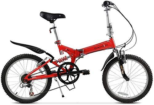 BNGS Bicicleta de montaña para niños Adultos Cuadro deAcero de 20 Pulgadas con GuardabarrosDelanteros y Traseros Freno de Disco mecánico Delantero y Trasero Bicicleta para Exteriores