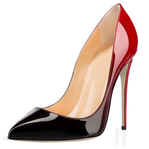 COLETER Spitzer Zehenpumps für Damen, Patentverlauf, Tierdruck, High Heels, normale Kleiderschuhe, (Farbverlauf Rot zu Schwarz mit 12 cm Absatzhöhe), 41 EU