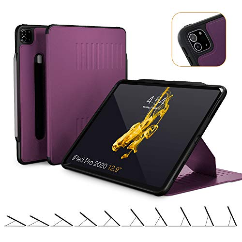 ZUGU CASE (New Model) Alpha Case for 2020 iPad Pro 12.9 inch - Ultra Slim Protective Case - Wireless Apple Pencil Charging - Convenient Magnetic Stand & Sleep/Wake Cover (Purple)