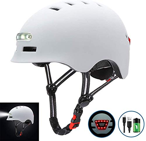JIBO Ajustable Bicicleta Casco, con LED Encendiendo Advertencia Luces y Eps Amortiguación...