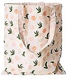 ASFINS Bolsa Tote Tela, Bolsa de Lona Mujer Bolsa Tote Bolsa de Algodón Reutilizable para Las Compras Salir, 40cm x 36cm (Melocotones Rosados)