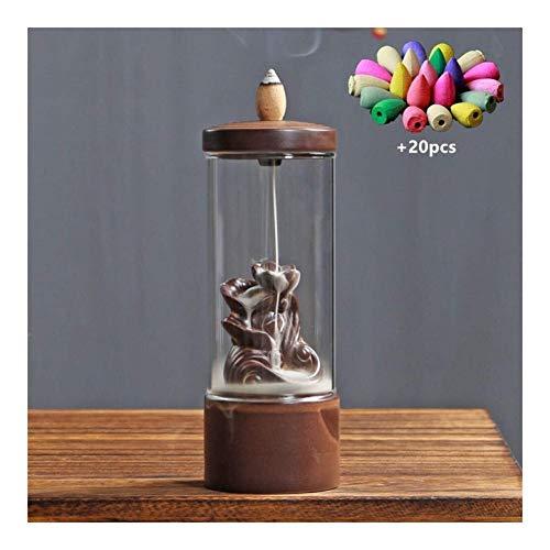 HJXSXHZ366 Lotus reflujo Humo de Incienso de reflujo y vitrocerámica Quemador de Incienso Productos de decoración Tapa Cascada casa casa de té (Color : A)