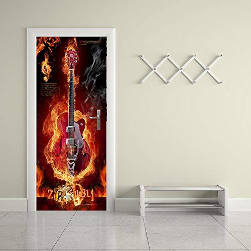 FCFLXJ3D Tür Aufkleber Flamme Gitarre Farbe Poster Wandbild Tapete Stereo Home Hintergrund Schlafzimmer Tür Dekoration selbstklebend PVC selbstklebend Stereo er 77x200cm