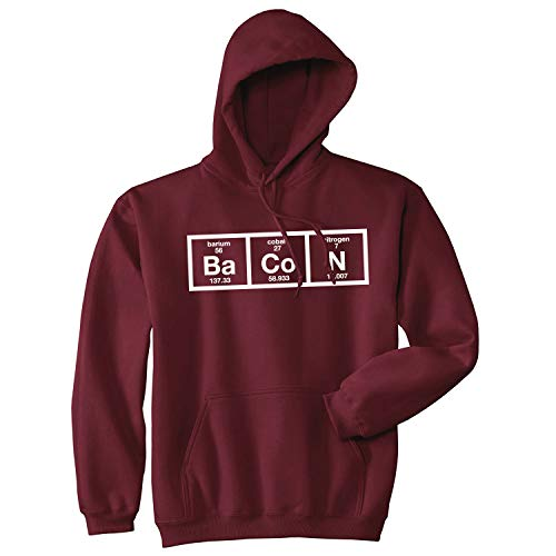 Chemistry of Bacon Hoodie Nerdy Periodic Element Breakfast Funny Sweatshirt (Red) - L