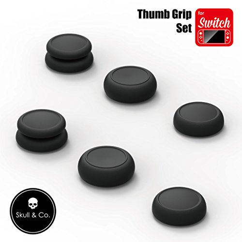 Skull & Co. Piel, CQC y fps Thumb Grips Set Cap Analog Stick Cap Joystick para Nintendo Switch joy-con Controller, Negro