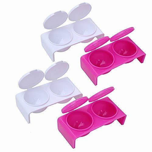 Lot de 2 bols de trempage à 2 fentes avec couvercles, outils de beauté pour mélanger l'acrylique, la poudre liquide, la manucure pour la maison et le salon (blanc/rose/rouge)