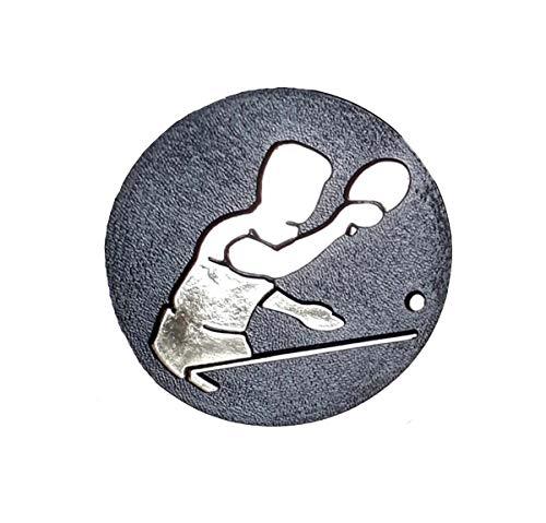 ping Pong 1 centro de medalla de plástico negro y oro 25 mm de diámetro para puerta central