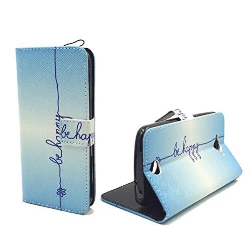 König Design Handyhülle Kompatibel mit Acer Liquid Z530 Handytasche Schutzhülle Tasche Flip Hülle mit Kreditkartenfächern - Be Happy Blau