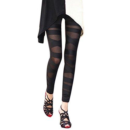 Eleery Damen Skinny Leggins Strumpfhosen Lange Schlank Hose elastisch Bleistifthose (Schwarz)