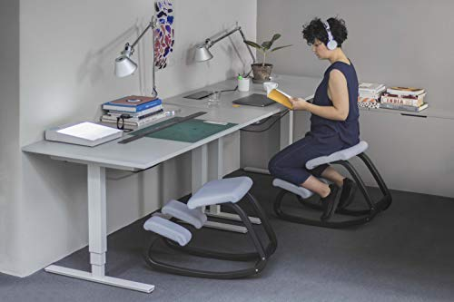 Varier Variable Balans Original Kneeling Chair Designed by Peter Opsvik (Black Revive Fabric with Black Ash Base)