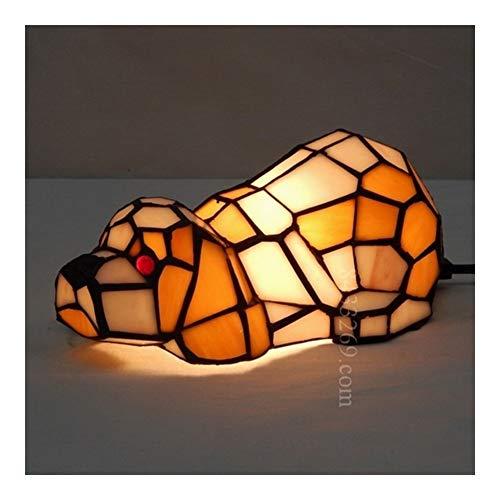 EODUDO-lights Lámparas Colgantes Lámpara Tiffany Art con Forma de Perro, lámpara de Mesa for...