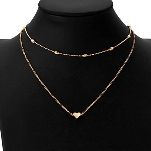 Collar de Cadena de Cuello de clavícula Multicapa de corazón de melocotón Colgante de clavícula Femenina de Moda Simple Colgante en Forma de corazón