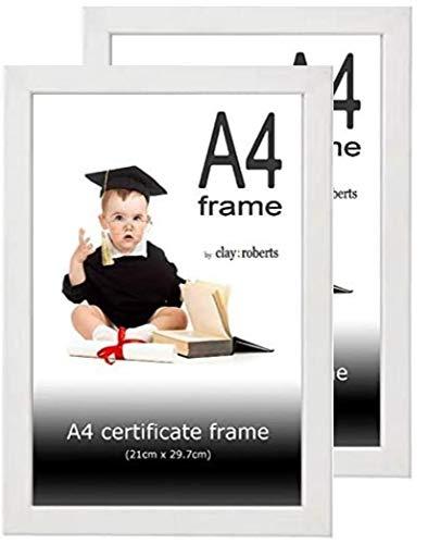 Clay Roberts Marco de Fotos A4, Blanco, Paquete de 2, Marco para Certificados/Documentos, Montable en la Pared