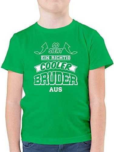 Geschwister Bruder - So Sieht EIN richtig Cooler Bruder aus - 140 (9/11 Jahre) - Grün - 5. Geburtstag Junge - F130K - Kinder Tshirts und T-Shirt für Jungen