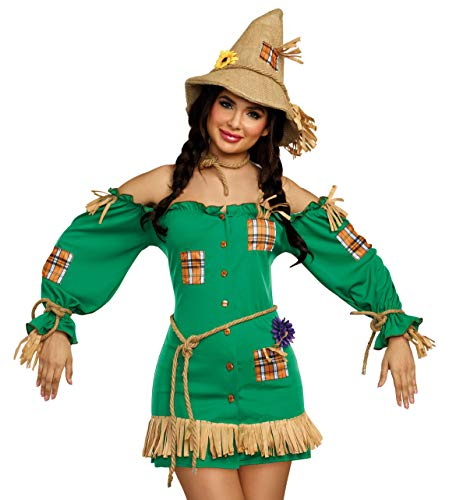 Dreamgirl Women's Storybook Scarecrow Costume Dress, Green, Large