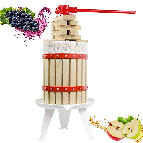 4.75 Gallon Fruit Wine Press - 100% Nature/Healthy Apple&Grape&Berries Crusher Manual Juice Maker for Kitchen, Solid Wood Basket with 2 Blocks Cider Wine Making Press (LFGB Certified,Heavy Duty)