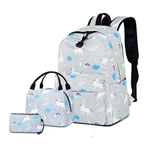 Unicorn Backpack Casual Sac À Bandoulière Sac À Riz Trois Pièces Pour Femme