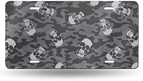 XCNGG Placa de matrícula de Calavera de Camuflaje, Etiqueta de tocador, Placa Frontal Decorativa novedosa de Aluminio de 6 x 12 Pulgadas