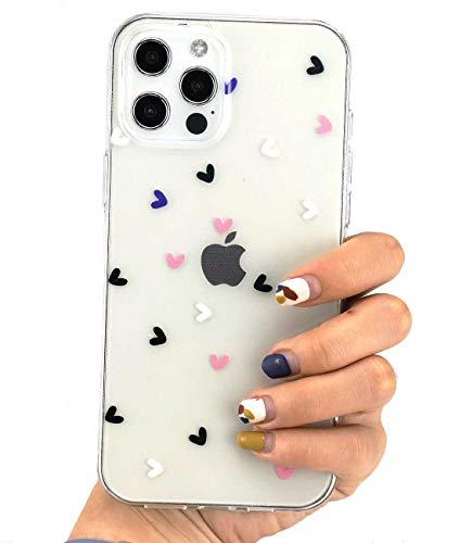 SmoBea Kompatibel mit iPhone 12 Pro Max Hülle für Clear Love Hearts Back 3D Muster Weich TPU Schutzhülle Silikon Dünn Stoßfest Case für iPhone 12 Pro Max 6,7 Zoll - Love-Hearts