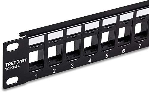 "TRENDnet 24-Port Blank Keystone 1U Patch Panel, TC-KP24, 1U 19"" Metal Rackmount Housing, Recommended w/ TC-K25C6 & TC-K50C6 Cat6 Keystone Jacks (sold separately)"