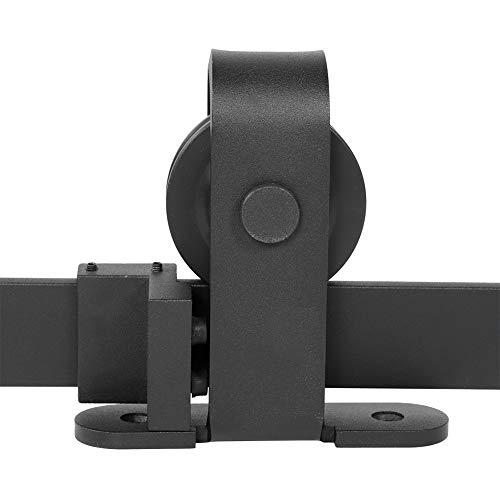 Kit de riel para puerta corredera de hierro, polea de riel colgado, sistema de puerta interior, granero, armario, de baño, 183 cm/200 cm, negro