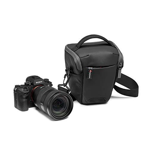 Manfrotto MB MA2-H-S Advanced² S, kleiner Halfter für Profi-CSC-Kameras mit angesetztem 16-35/f4-Objektiv, mit abnehmbarem Schultergurt, Stativbefestigung, beschichteter Stoff