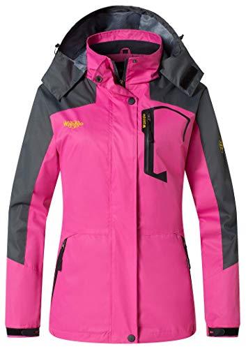Wantdo Women's Sport Soft Shell Jackets Waterproof for Climbing Hiking Rose Red US L
