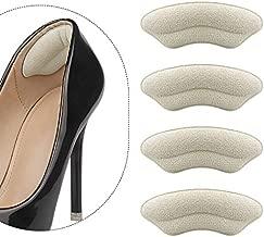 Heel Grips Unisex 4 Pairs Self-Adhesive Heel Cushion Inserts Comfortable Microsuede Heel Pads Help Keep Your Heel in Place in Your Shoe Lmprove Heel Pain (Beige & Black)