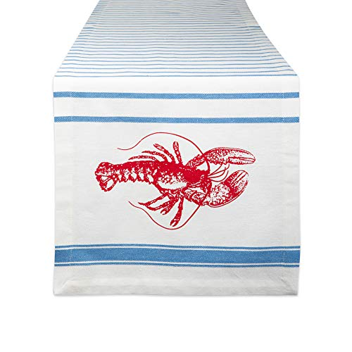 DII CAMZ11186 Cotton Woven Heavyweight Table Runner for Spring, Summer, Family Dinners, Outdoor Parties, Everyday Use, 14x72, Lobster Stripe