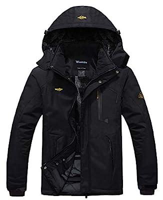 Wantdo Men's Waterproof Mountain Jacket Fleece Windproof Ski Jacket US L Black L from