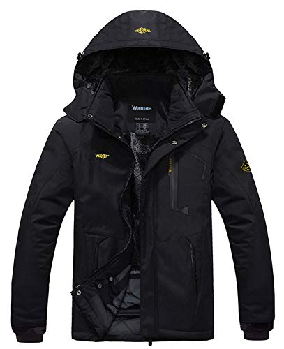 Wantdo Herren Mountain Wasserdicht Skijacke Winddicht Regenjacke Winter Warm Schneemantel - Schwarz - Medium