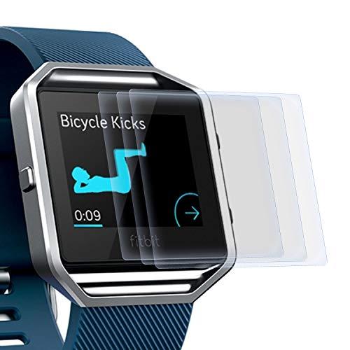 zanasta 3 Stück Schutzfolie kompatibel mit Fitbit Blaze Bildschirmschutzfolie Nano Schutz Folie | Volle Abdeckung, Klar Transparent