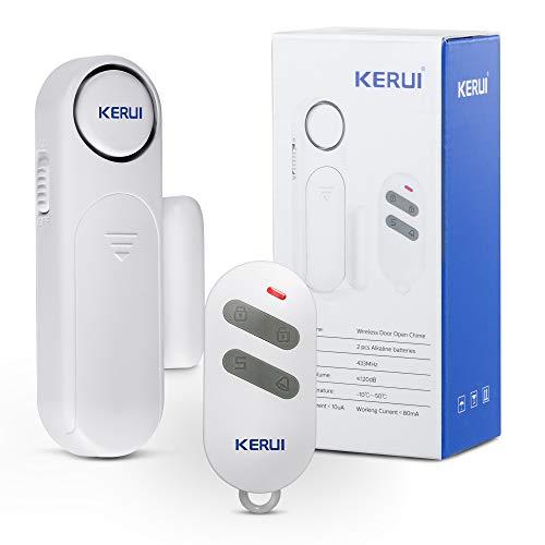 KERUI D121 Sensor de Alarma para Puertas y Ventanas, Alarma Antirrobo con Control Remoto, Alarma de Timbre de 120dB, Sistema de Seguridad para el Hogar Expandible- para Niños, Refrigeradores, Tiendas