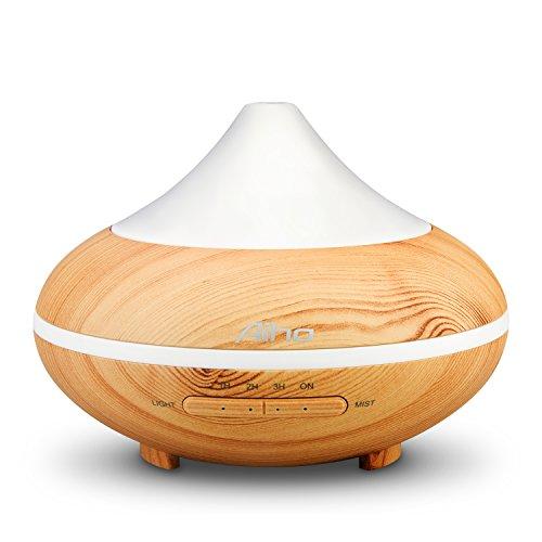 Aiho umidificatore 200ml Ultrasuoni Diffusore di Oli Essenziali Aromaterapia 7-Color LED 4binari di tempo per Yoga Spa Hogar Ufficio Camera Bagno Bianco