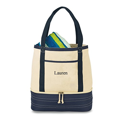Personalized Coastal Cotton Insulated Cooler Tote Bag - Thermal Grocery Bag -