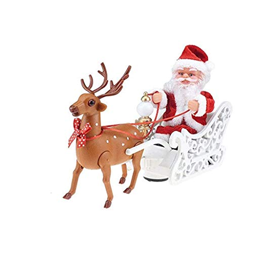 TJLSS Santa Electric Santa Claus Super Toy Elk Sleigh Deer Car Toy Santa Claus Doll Toy Hanging Ornament Tree Indoor Outdoor Christmas Holiday Home Decor