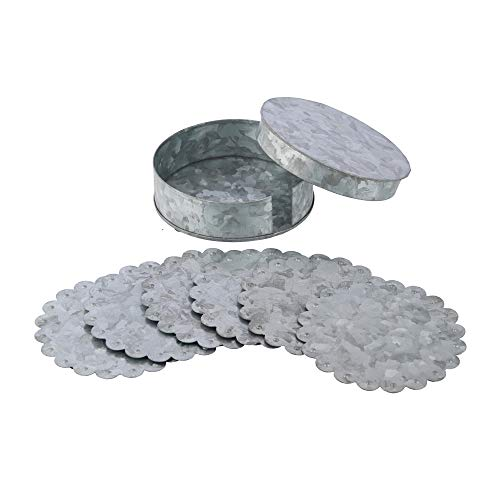 Galvanized Drink coasters Set of 6 - Raw Tin Coaster Set with Cover Holder - Beverage Bar Restaurant Coasters - Tabletop Protection from Scratches Spills & Marks - Home Office Decor