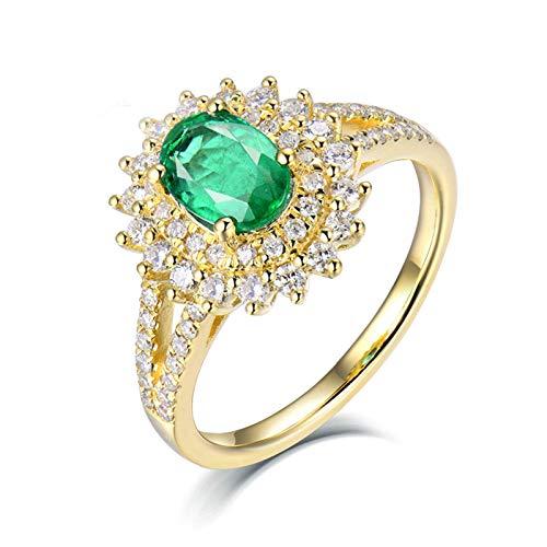 Beydodo Anillos Mujer Compromiso,Anillo de Oro Blanco 18K Mujer Oro Verde Flor con Oval Esmeralda Verde 0.65ct Diamante 0.5ct Talla 18,5(Circuferencia 58MM)